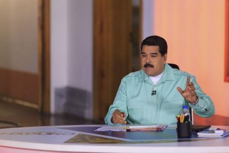 """El presidente de Venezuela, Nicolás Maduro, durante su programa semanal """"En contacto con Maduro"""", Caracas"""