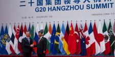 Tèlam Hangzhou (China), 04/09/ 2016.- El presidente Mauricio Macri saluda a su par de China, Xi Jimping, durante los actos de apertura de la cumbre del G-20 en esta ciudad. Foto: pRESIDENCIA/TELAM/EF